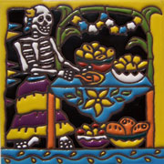Set of 10 Day of the dead tile hrd 6