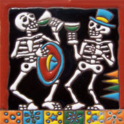 Set of 10 Day of the dead tile hrd 8