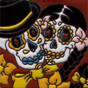 Set of 10 Day of the dead tile hrd 11