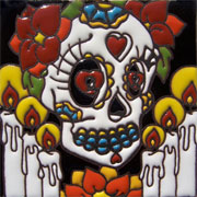 Set of 10 Day of the dead tile hrd 12