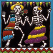 Set of 10 Day of the dead tile hrd 13
