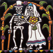 Set of 10 Day of the dead tile hrd 14