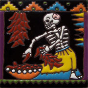 Set of 10 Day of the dead tile hrd 20