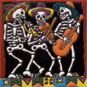 Set of 10 Day of the dead tile hrd 24