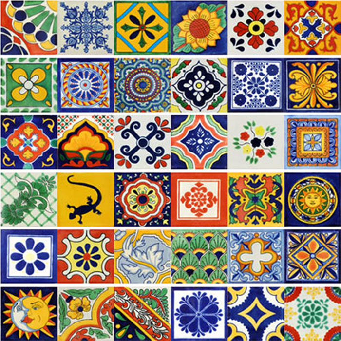 40 mexican talavera tiles 6x6